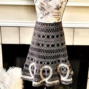 Nanette Lepore Embroidered Black & Beige Skirt